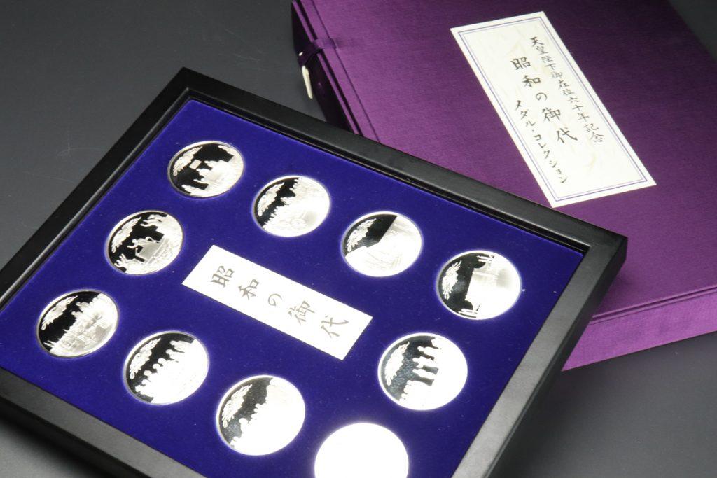 フランクリン・ミント/天皇陛下御在位六十年記念/昭和の御代/純銀メダルコレクション10枚